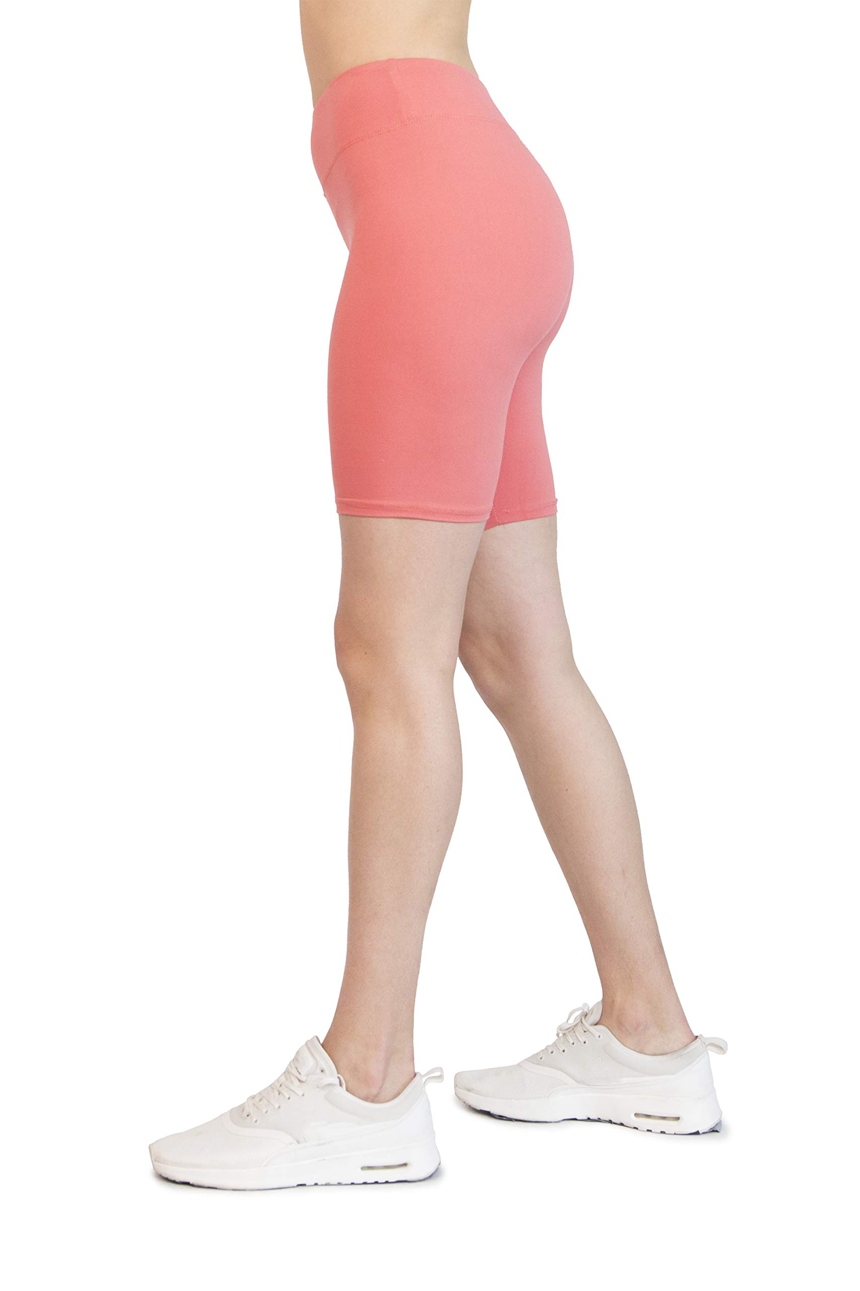 Ocommo Biker Shorts for Women High Waist (3 Inch), Great as Thigh Saver Shorts, Shorts for Under Dresses, or Biker Shorts Women - Small to Plus Size 2XL Neon Coral by OCOMMO