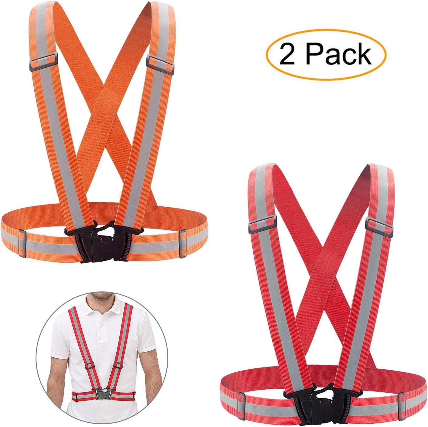 KUYOU Reflective Vest,2 Pack High Visibility Vest Safety Gear Elastic and Adjustable Safety Vest for Running, Cycling, Motorcycle Safety, Dog Walking,Jogging