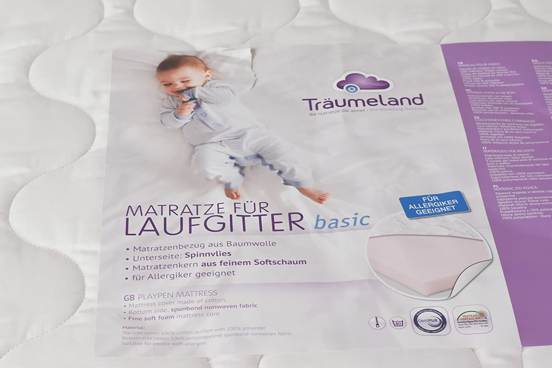 Laufgitter Buche natur lackiert 75x100 mit Matratze und gummierten Rollen T/ÜV gepr/üft 2019 T/ÜV Th/üringen Laufstall Baby stufenlos h/öhenverstellbar