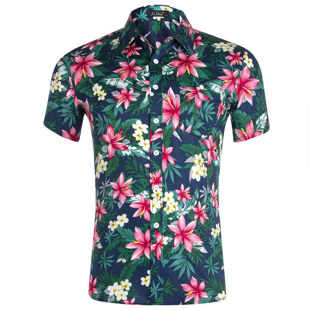 UROSA Summer Fashion Mens Tops Color Print Trend Color Short-Sleeved Shirt Casual Blouse 2019