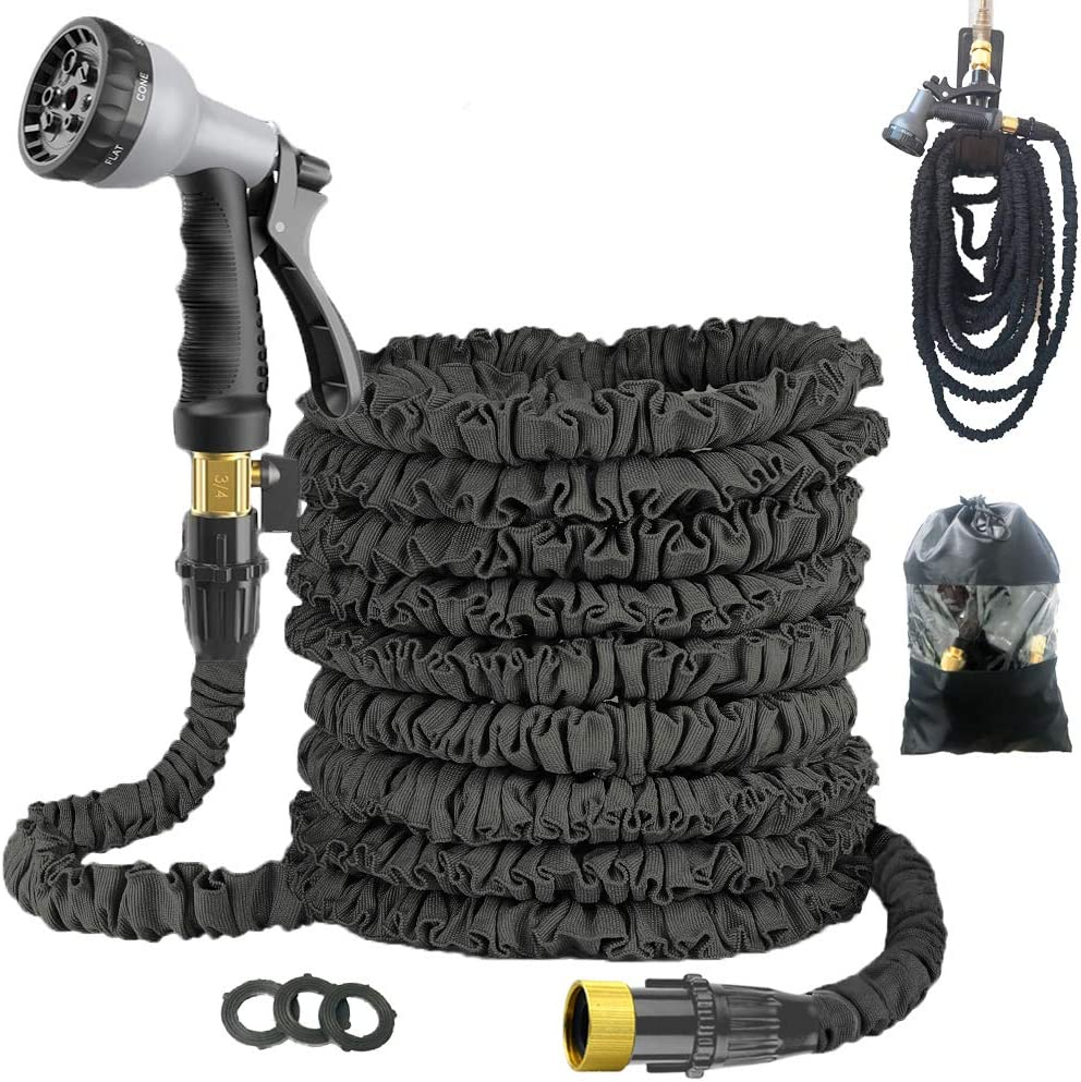 Expandable 50FT Garden Hose Pipe - Lightweight, Durable& Felxible - 8 Function Spray Gun/Hose Hanger/Storage Bag/Brass Fittings for Lawn/Pet/Car/Boat Wash (50FT-Black)