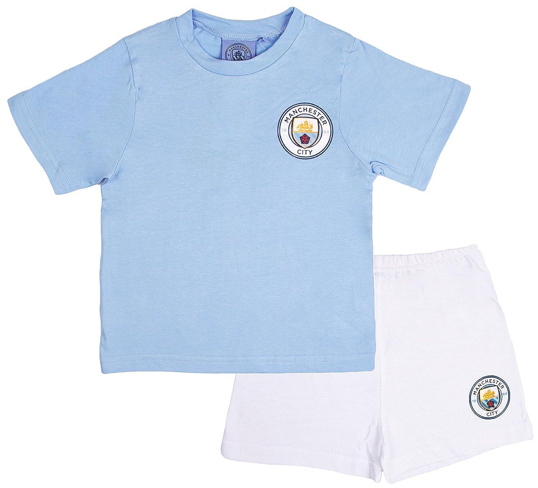 Boys Official Manchester City Short Pyjamas 100/% Cotton Football Shortie PJs