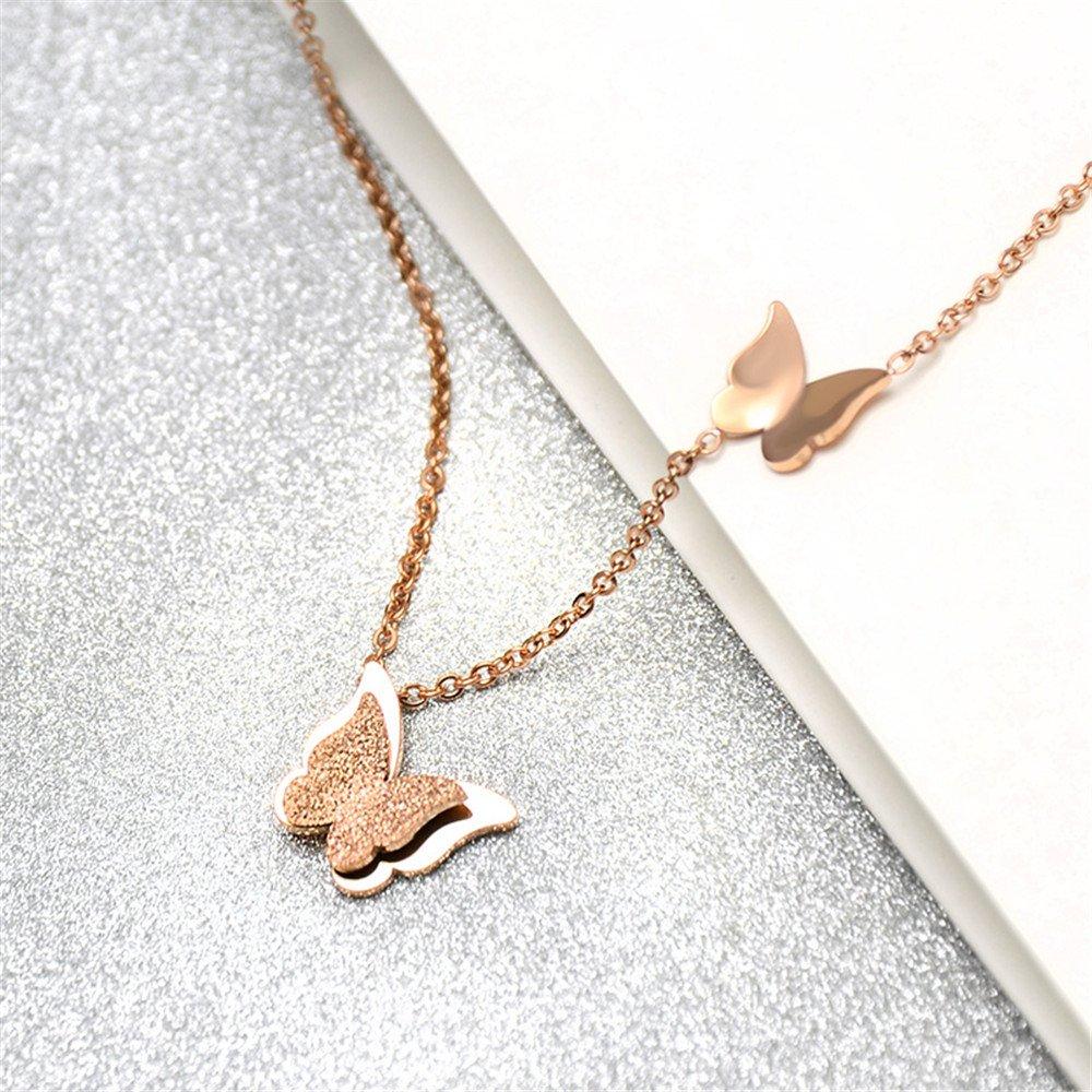 Cha/îne de collier en acier inoxydable pour femmes Muting 2018 pendentif papillon or rose en acier inoxydable charme pendentif cha/îne collier Clavicule Tr/ésor pour femmes et filles