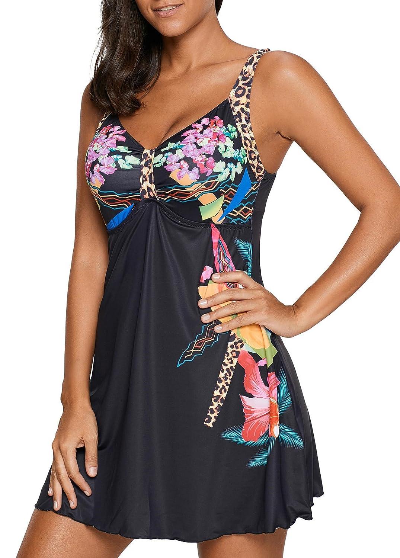 Crazycatz@ Womens Plus Size Swimdress Boyshort Tankini Swimsuit