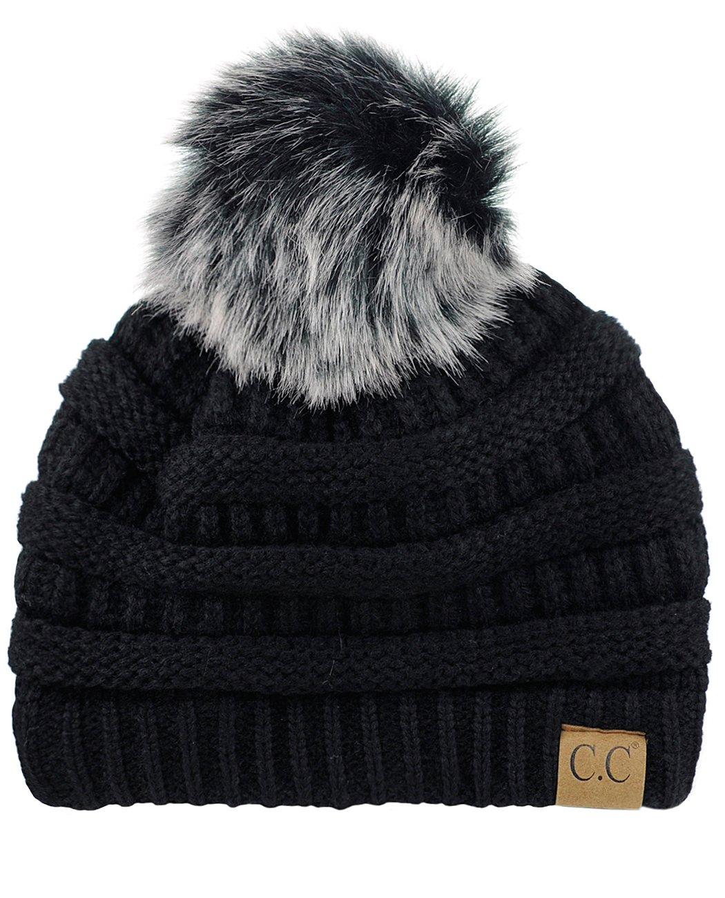 NYFASHION101 Exclusive Soft Stretch Cable Knit Faux Fur Pom Pom Beanie Hat - Black/Gray Pom