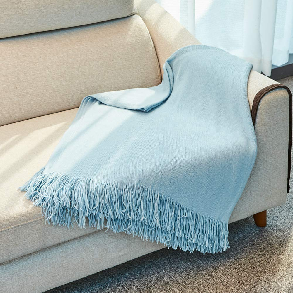 Inshere Light Blue Solid Color Knit Woven Throw Blanket Cover with Tassels Fringe Soft Cozy Comfy Warmth Lightweight Winter Home Decor for Couch Bed Chair Sofa Living Room 51''x67''