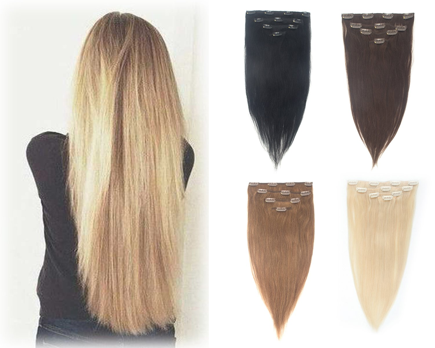 Long Straight Remy Human Hair Clip in on 4 Pieces 13''-19'' Full Head Hair Extensions 10 Clips Hairpieces