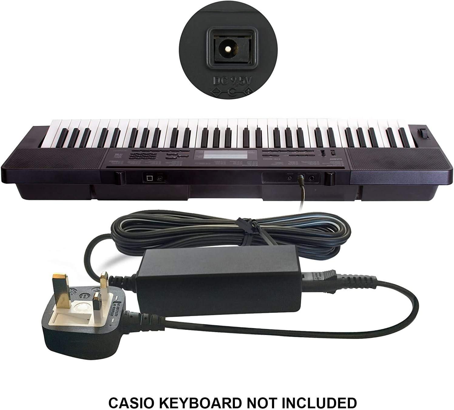 ABC Products® - Adaptador de alimentación para Casio (9,5 V/9,5 V, adaptador de corriente continua (AD-E95100LE/AD-E95100L, AD-E95100, AD-E95100LG, ...
