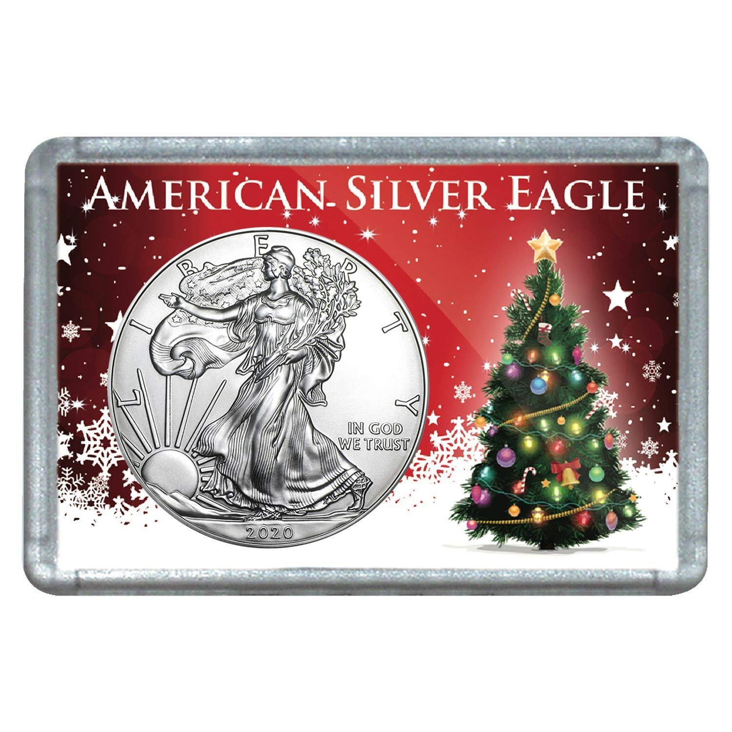 2020-1 Ounce American Silver Eagle in Christmas Tree Design Holiday Holder Dollar Uncirculated US Mint