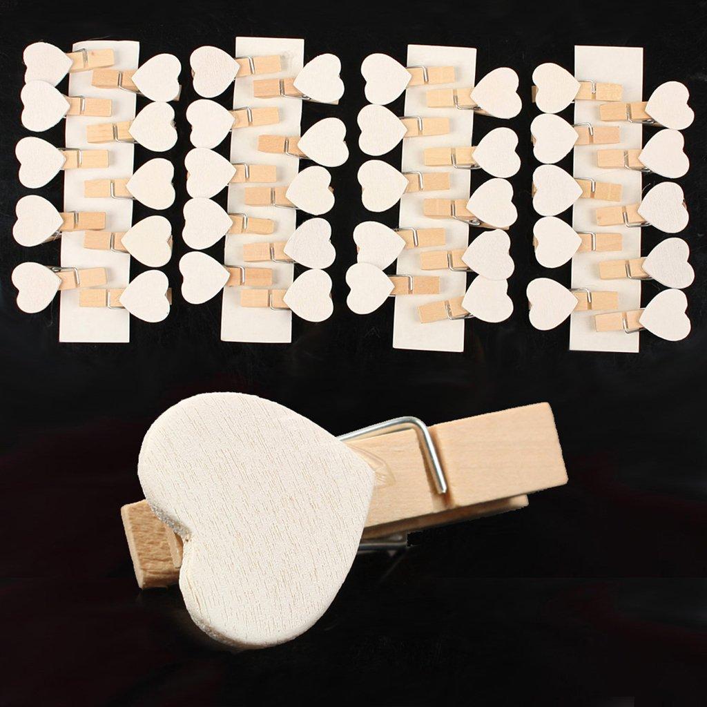 AWinEur 40pièces d'épingles en bois avec cœur, pour photos de mariage, décorations et loisirs créatifs - Blanc AngXiong