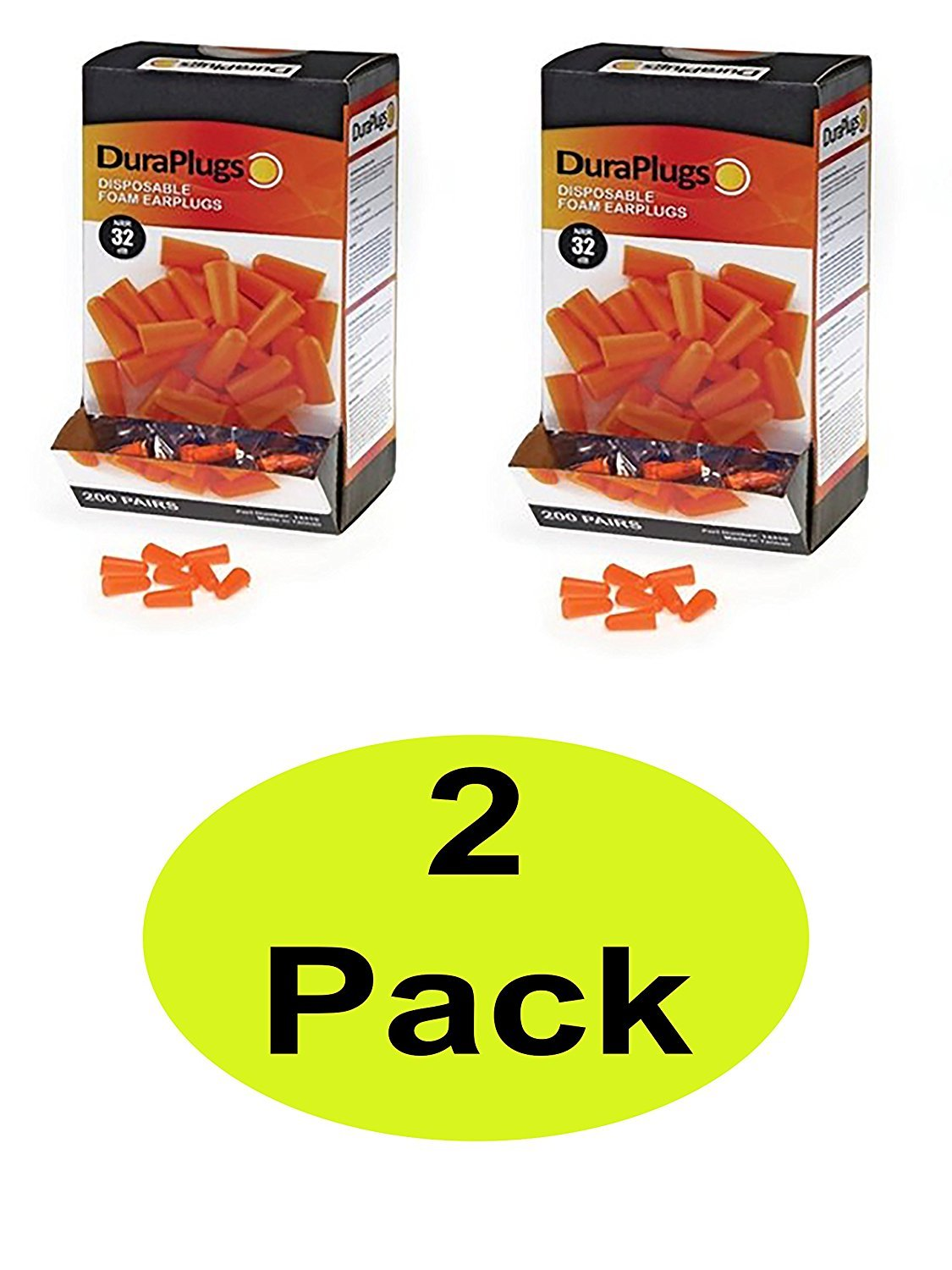 Liberty DuraPlug Uncorded Disposable Foam Earplug with 32 dB NRR, Orange (Case of 400 Pairs) (400)
