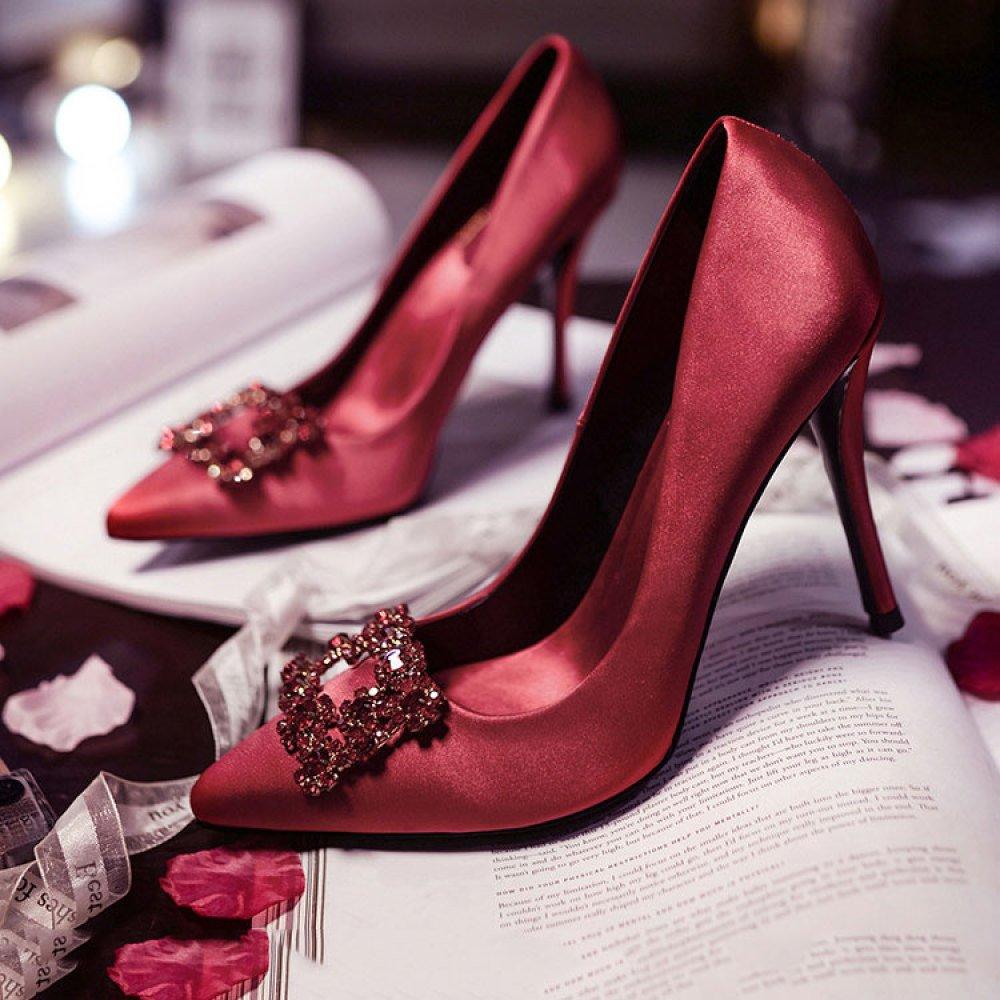 DKFJKI Damenschuhe Rote Hochzeitsschuhe Braut- Braut- Braut- Vintage- Strass Hochhackige Hochzeitsschuhe Seide Leichte Luxus ROT c12743