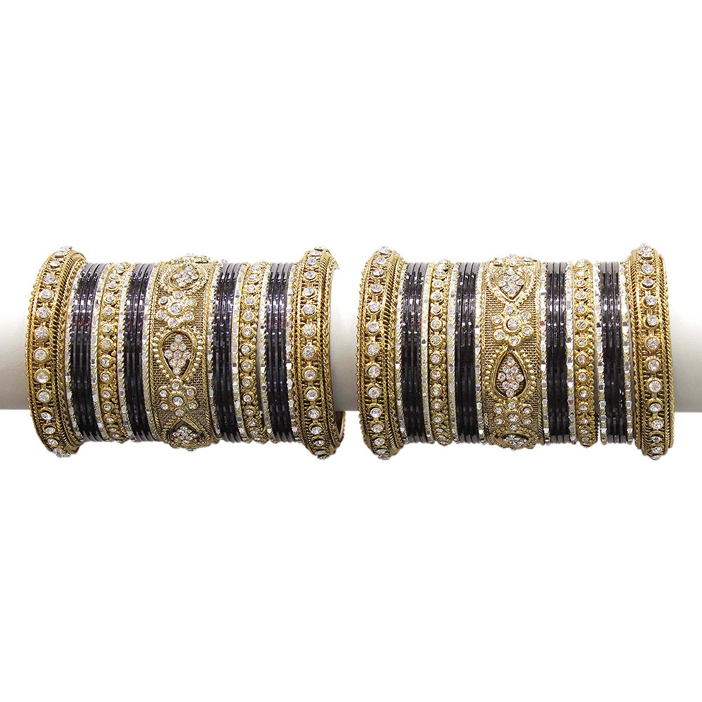 MUCH-MORE Beautiful Multi Color Bangles for Women & Girls Wedding Jewelry (Black, 2.6)