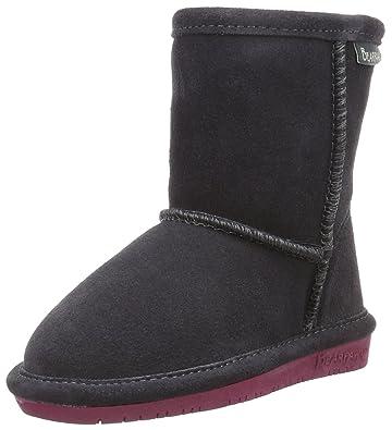 BEARPAW Girls' Emma Zipper Mid Calf Boot, Charcoal/Pomberry, 7 M US