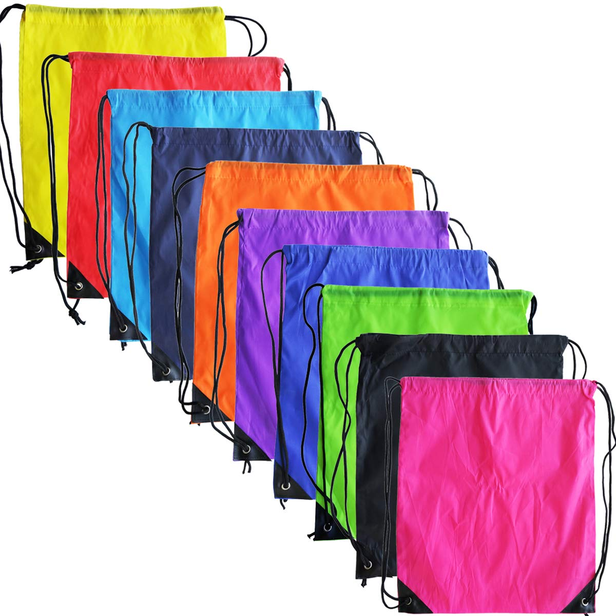 10 Colors Drawstring Backpack Bags Sack Pack Cinch Tote Sport Storage Polyester Bag for Gym Traveling (10 Colors) by Topspeeder