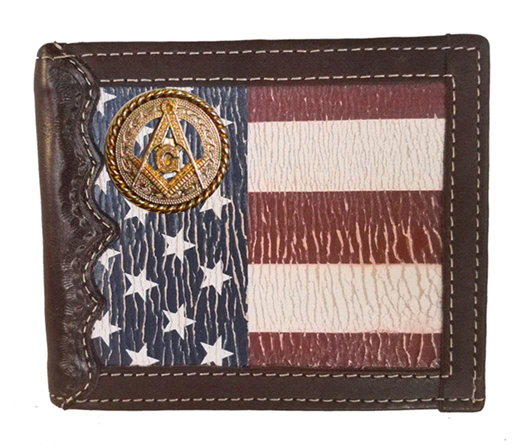 Custom Masonic Square and Compass Bi-fold Wallet with a Distressed United States Flag background