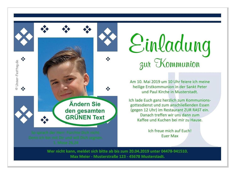Einladungen Zur Kommunion Fur Jungs Junge Mit Oder Ohne Foto