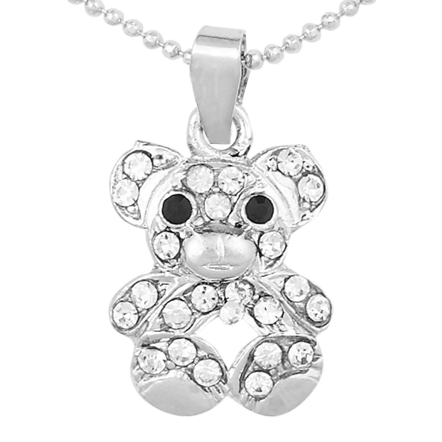 teddy dp and stainless c stud s steel amazon com necklace wemen earrings jewelry pendant urs silver bear