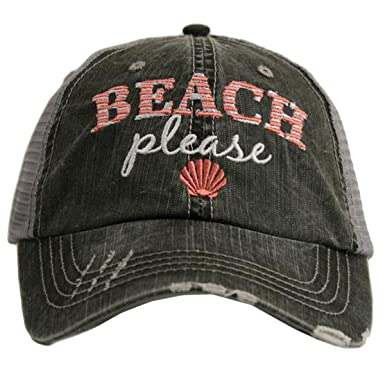 f633a019e0837 Amazon.com  Katydid Beach Please Women s Trucker Hat-gray coral ...