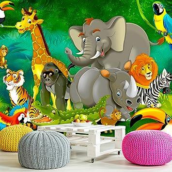 Decomonkey | Fototapete Kinder Dschungel Jungelbuch Tiere Kinderzimmer  300x210 Cm XXL | Design Tapete | Fototapeten