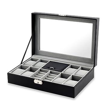 Amazoncom Jewelry Box JRose 8 Watch Box Jewelry Necklace Ring