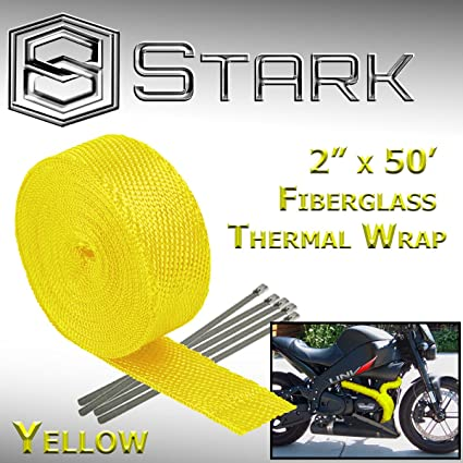 "2 Roll x 2/"" 50FT Yellow Exhaust Wrap Header Manifold Fiberglass Heat Wrap Tape"