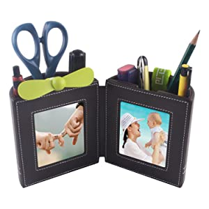 Desk Stationery Organizer, Leather Pencil Cup and Pen Holder with Photo Frame for Home Office Supplies Space Saver and Great Gift Item (Brown)