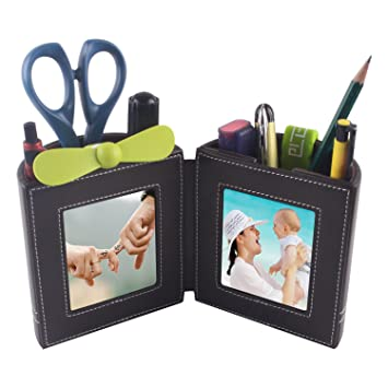 Desk Stationery Organizer,Leather Pencil Cup And Pen Holder With Picture  Frame For Home Office