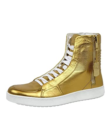 7963135279e Gucci Men s Gold Leather Limited Edition High-top Sneakers 376193 (7.5 G   8