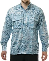 Aqua Design Men Saltwater Vented Long Sleeve Camo Flats Fly Fishing Shirt