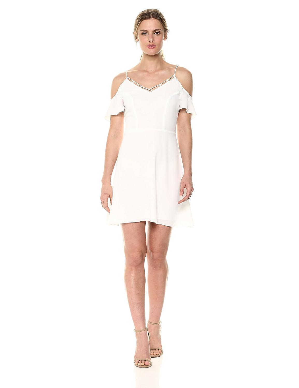 White Cooper & Ella Womens Knot Neckline Detail Cold Shoulder Lotte Dress Casual Dress