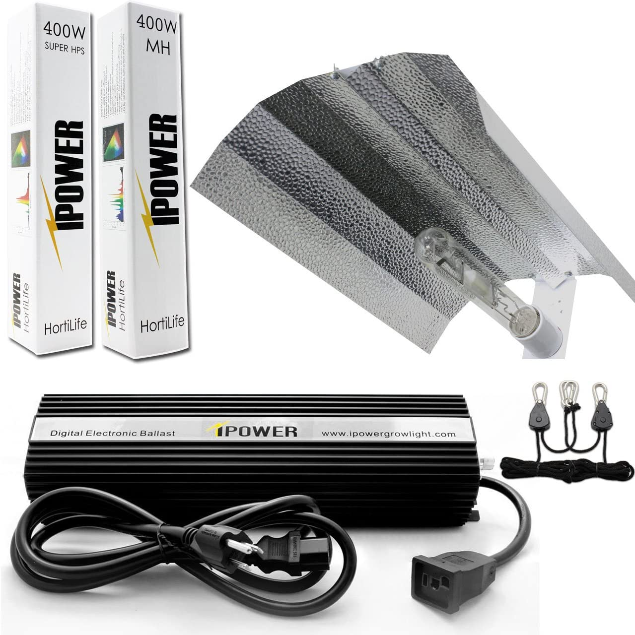 iPower GLSETX400DHMWING 400 Watt HPS MH Digital Dimmable Grow Light System Kits Wing Reflector Set, 400W