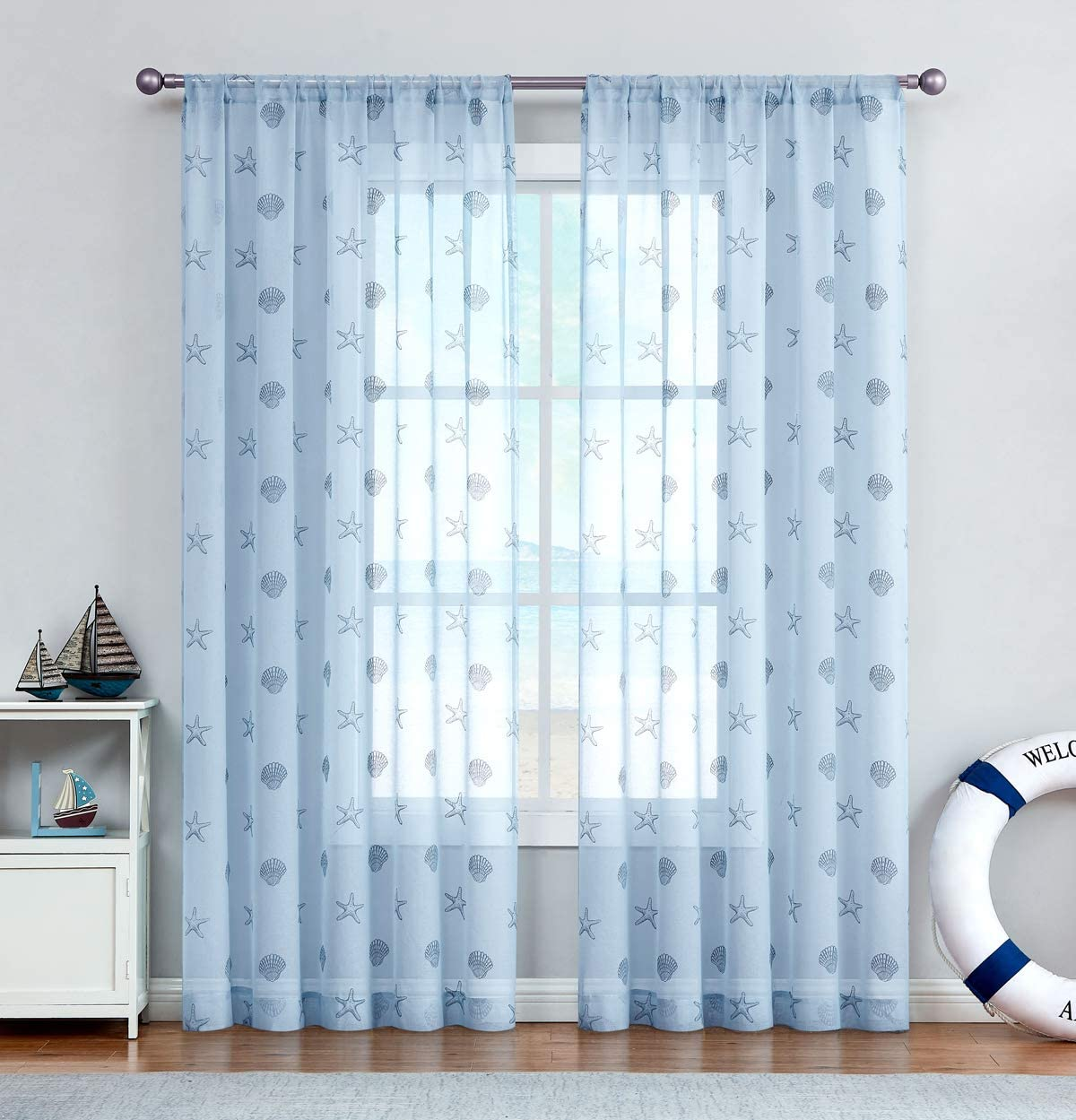 {Brand NEW} Valances Reef Seashells sheer Lace curtains White Panels
