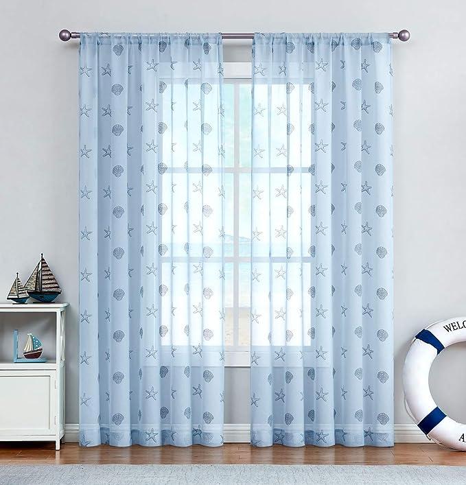Two Custom White And Blue Nautical Sheer Curtains Made to Order Sea Beach Ocean Theme Starfish Seahorse Seashell Coral.