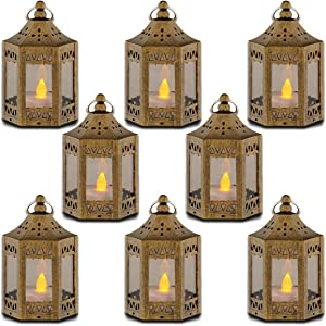 zkee Mini Star Lantern with Flickering LED,Battery Included,Decorative Hanging Lantern,Christmas Decorative Lantern,Indoor Candle Lantern,Battery Lantern Indoor Use, (Set of 8,Golden Brushed)