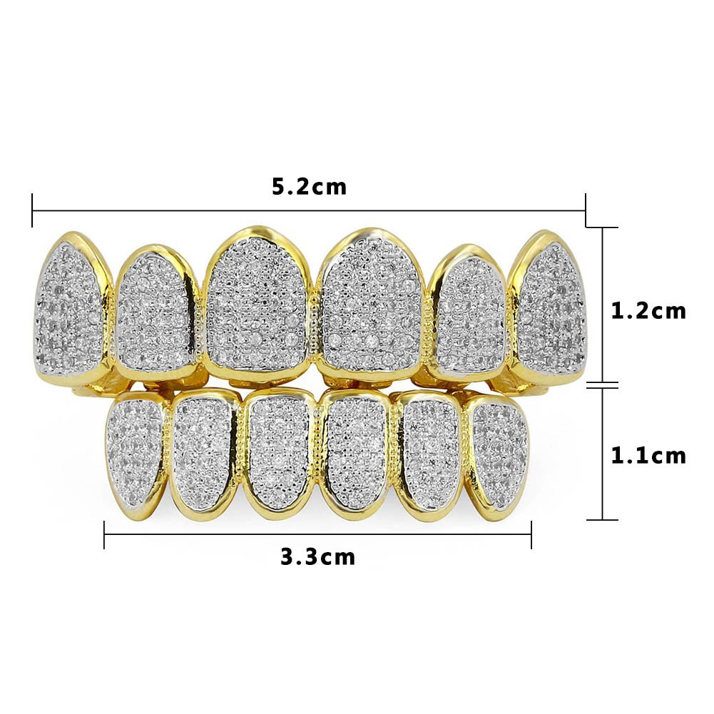 JINAO 18k Gold Plated All Iced Out Luxury Rhinestone Gold Grillz Set with Extra Molding Bars Included (Classic Set) by JINAO (Image #2)