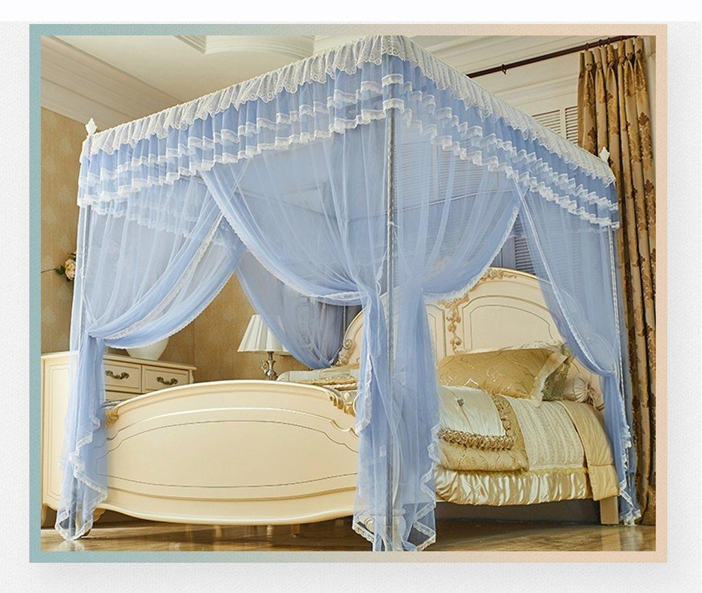 WLHW Moskitonetze Moskito-Netz-Palast-Prinzessin Rectangular Top-Innenverschlüsselung Moskito-Erhöhung Polyester-Faser-Edelstahl-Rohr 1.5m/1.8m/2m Bett Blau