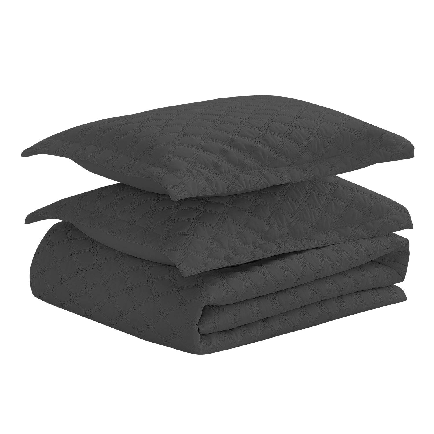Basic Choice 3-piece Oversized Quilted Bedspread Coverlet Set - Black, King/California King