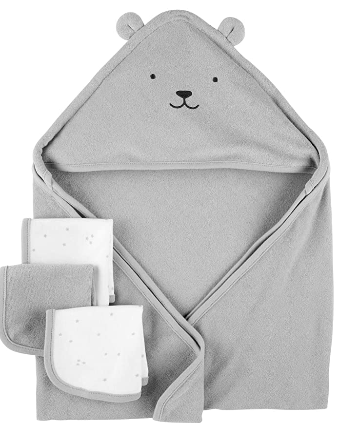 Carters Hooded Towels & Washcloths Set, 4pc, Grey Bear