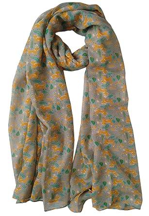 c06f3b92b GlamLondon Women's Woodland Fox Print Scarf (Grey): Amazon.co.uk: Clothing