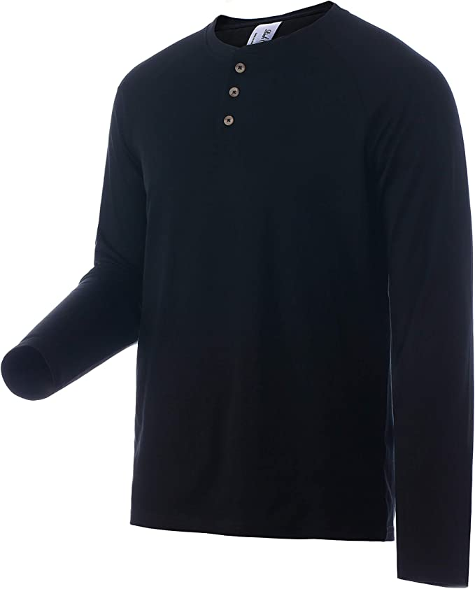 Macondoo Mens Button-Down Classic Long-Sleeve Henley Pure Color Shirts