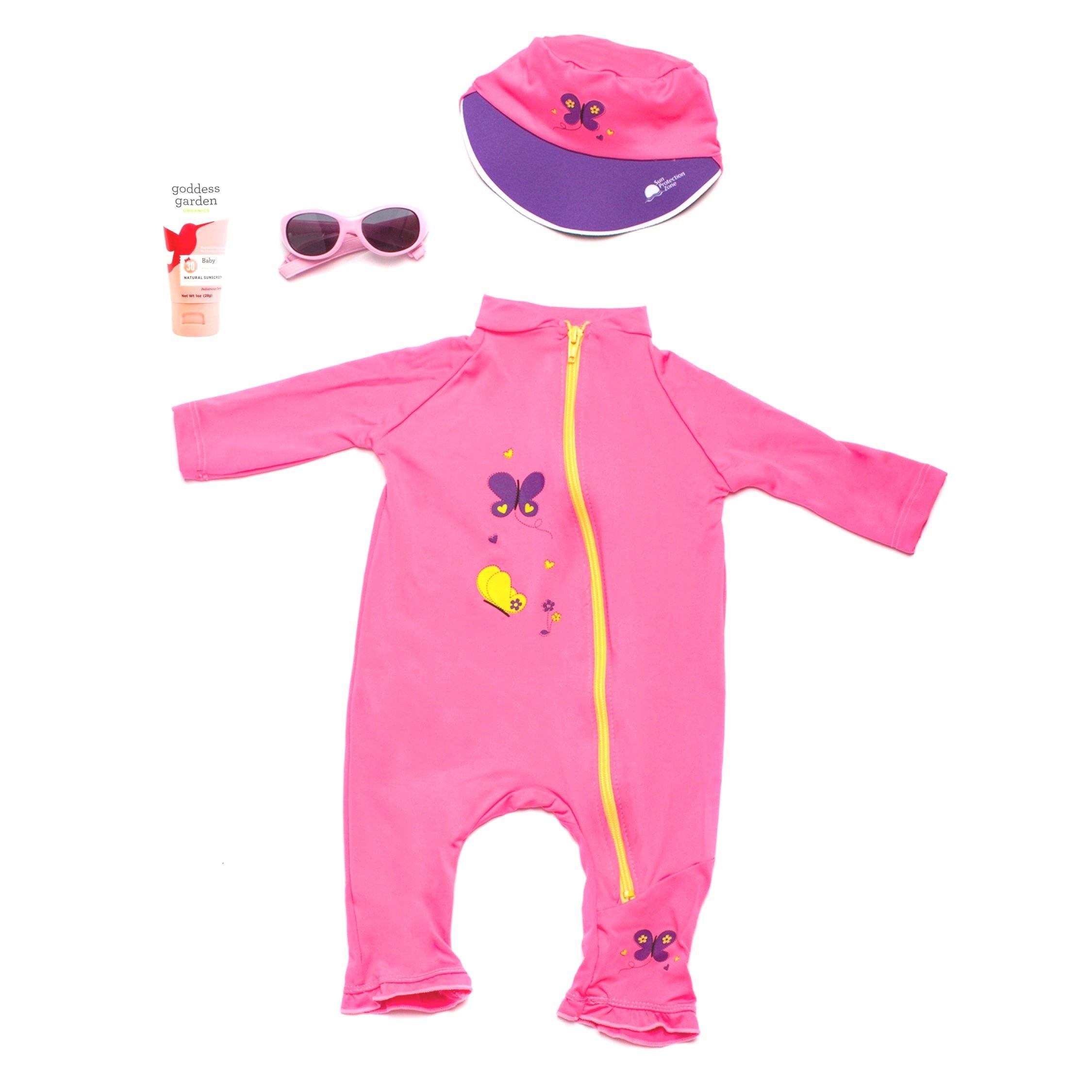 Baby's First Sun Day Infant Toddler Long Sleeve Sunsuit, Sun Cap, Sun Glasses and Goddess Garden Organics Sunscreen Kit (6 to 12 Months, Pink)