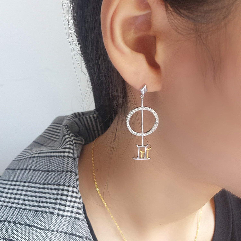Adisaer Jewelry WomenS Studs Earrings Sterling Silver Silver Hollow Geometric Circle Cubic Zirconia Length 4.2CM Round Shape Cubic Zirconia Wedding Earrings