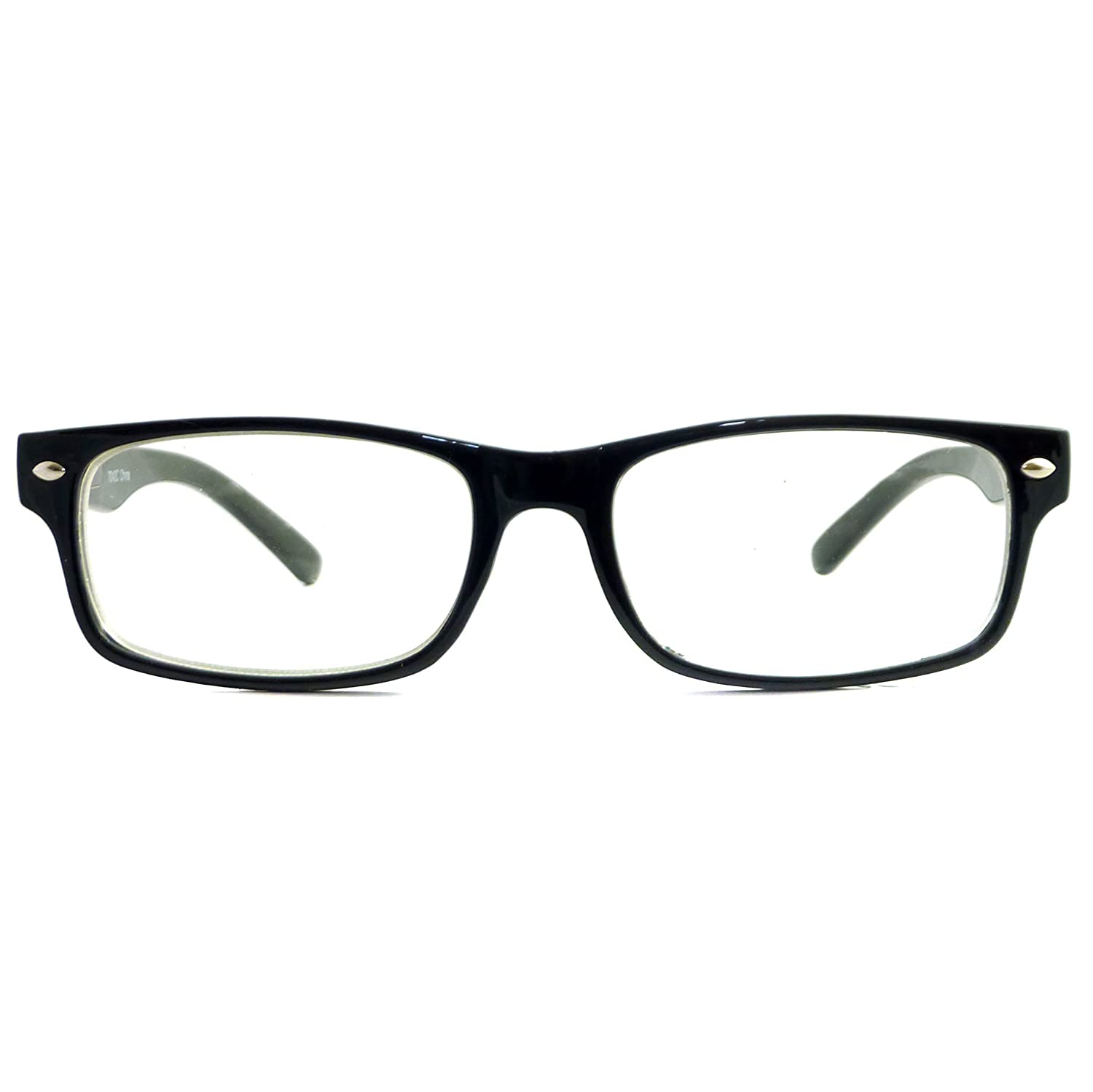 8df7bb7ed363 Amazon.com  RETRO Nerd Thin Men Women Rectangular Frame Clear Lens Eye  Glasses BLACK  Clothing