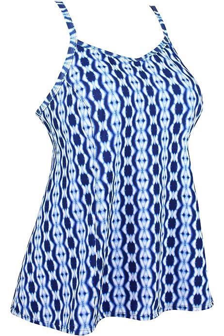 JINXUEER Womens Plus Size Flowy Swimsuit Crossback Tankini Top Modest Swimwear Black, 14