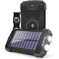 Solar Power Bank, Qi Portable Charger 10,000mAh External Battery Pack Type C Input Port Dual Flashlight, Compass, Solar…