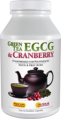 Andrew Lessman Green Tea EGCG Cranberry 60 Capsules Standardized for Catechins and Polyphenols. Helps Protect Tissues, Organs and Systems Throughout The Body. Powerful Anti-oxidant Support