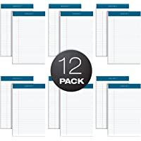"""TOPS Docket Writing Pads, 5"""" x 8"""", Jr. Legal Rule, White Paper, 50 Sheets, 12 Pack (63360)"""