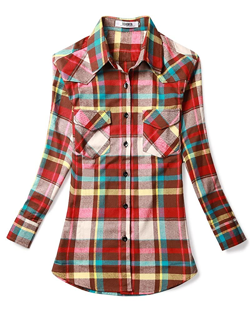 Women's Mid Long Style Roll Up Sleeve Plaid Flannel Shirt OCHENTA