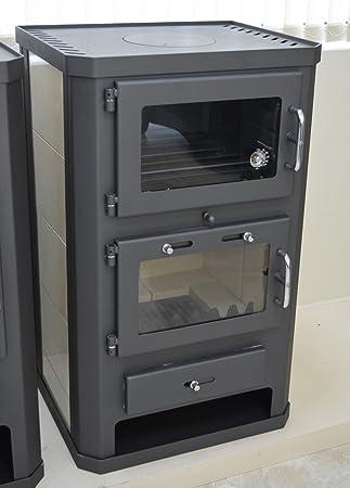 Estufa de leña para horno, 11 - 15 kW, revestimiento de cerámica, salida de flauta trasera, BlmSchV-2: Amazon.es: Bricolaje y herramientas